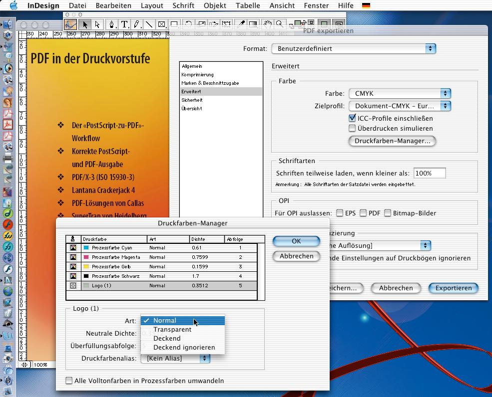 PDF-Workflow aus InDesign: der Druckfarbenmanager