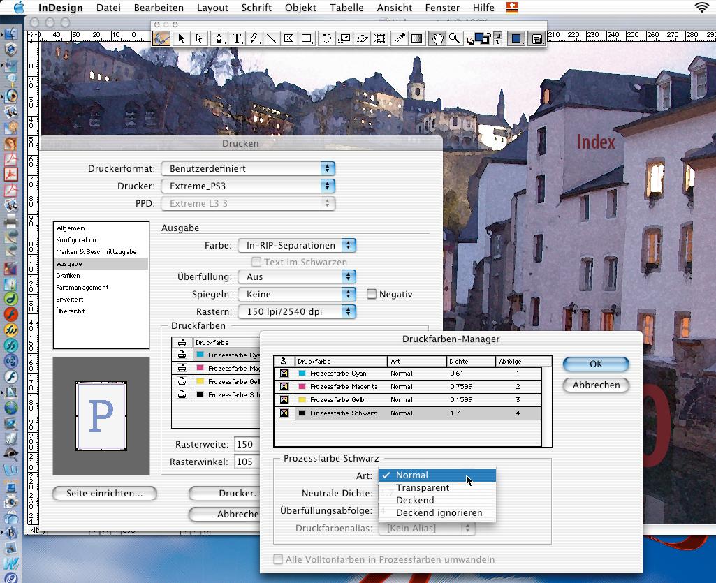 PDF-Workflow: der Druckfarbenmanager in Adobe InDesign bei der Ausgabe von In-RIP-Separationen