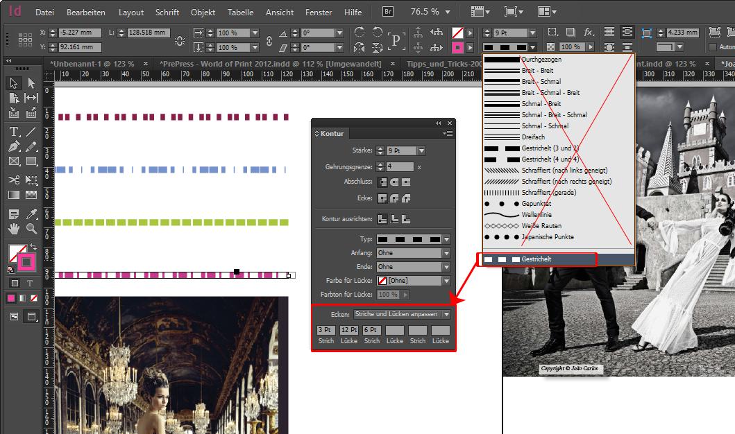 Adobe InDesign-Tipp: Striche und Lücken einer Kontur anpassen