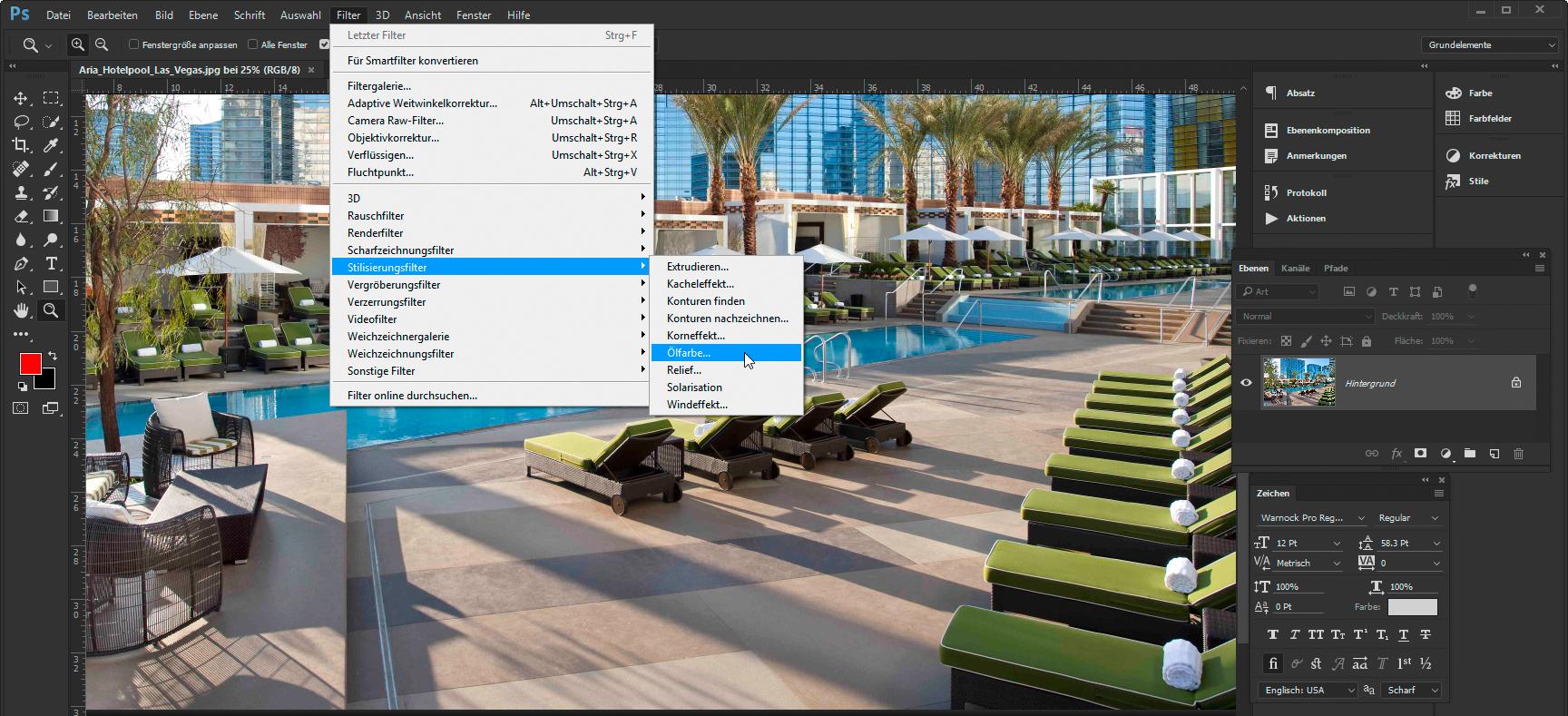 Stilisierungsfilter Ölfarbe in Adobe Photoshop CC
