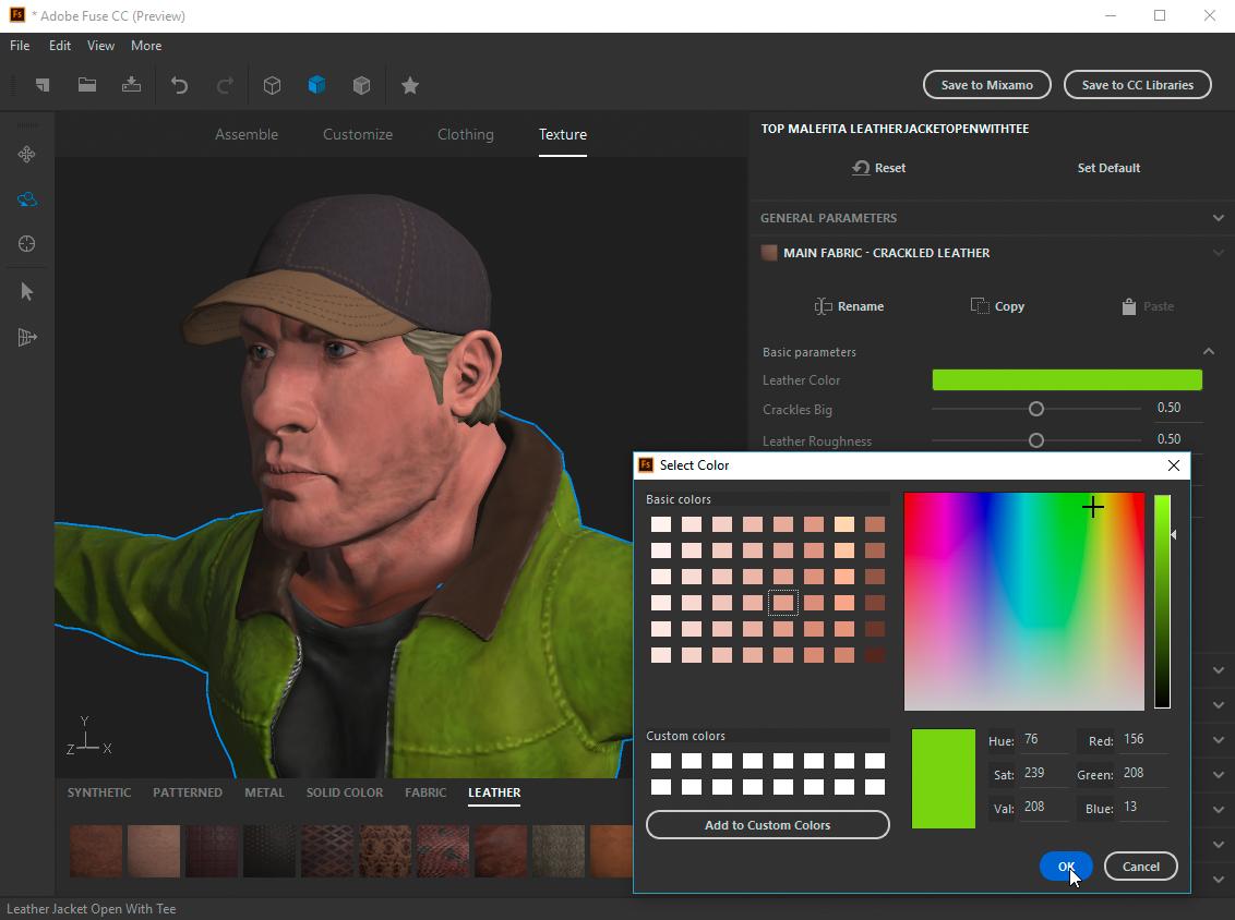 Anwenden von Texturen auf ein 3D-Modelll in Adobe Fuse