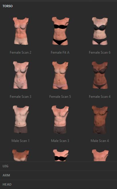 Adobe Fuse: Körperteile für das 3D-Modell aussuchen