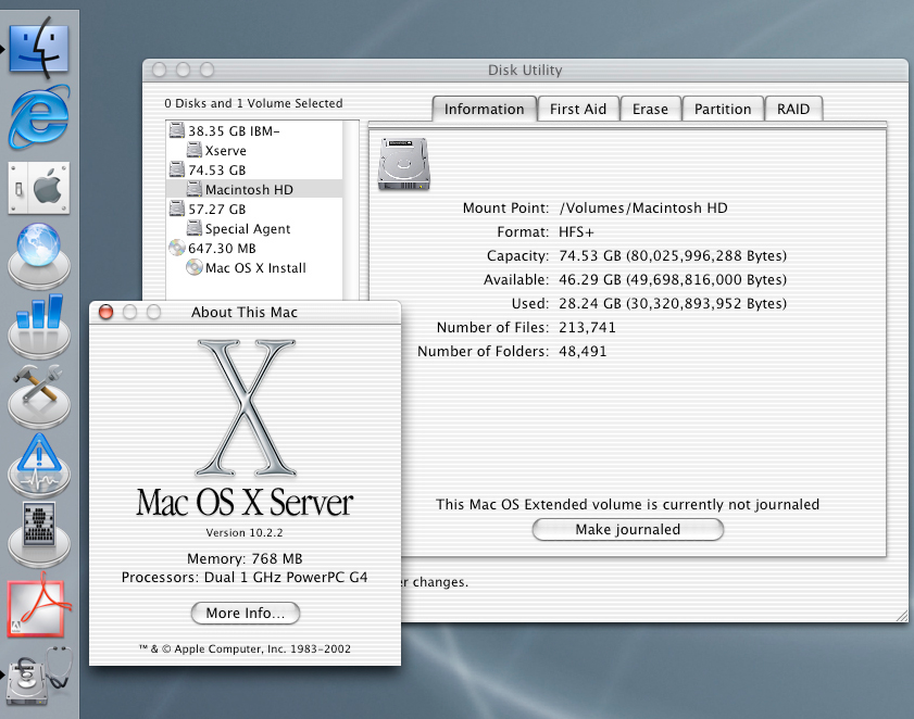 Apple-Nostalgia: Journaled HFS+ Extended in Mac OS X 10.2.2