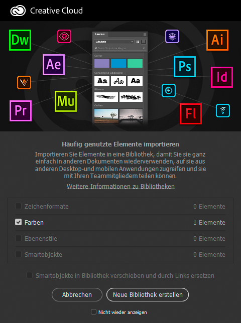 CC-Bibliotheken: Beim Öffnen einer Datei in Photoshop schickt sich das Programm an, nützliche Design-Elemente in CC-Bibliotheken zu erfassen