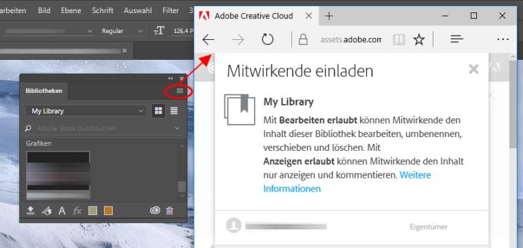 Photoshop, InDesign, Illustrator: Design-Bestände in geschützten CC-Bibliotheken an Arbeitskollegen freigeben