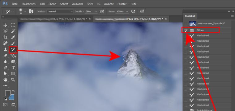 Photoshops Protokoll-Pinsel: die Kunst, Arbeitsschritte rückgängig zu machen