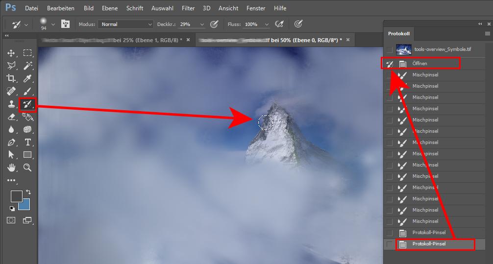 Wiederherstellen eines früheren Zustands der Datei mit dem Protokollpinsel in Photoshop
