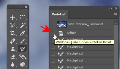 Protokollfenster in Photoshop: Schritt markieren