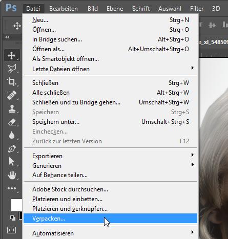 Photoshop: Dokument verpacken