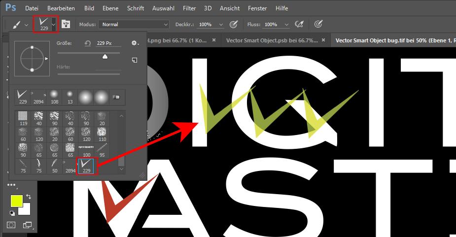 Aufgenommener Pinsel: eine benutzereigene, individuelle Pinselspitze in Photoshop