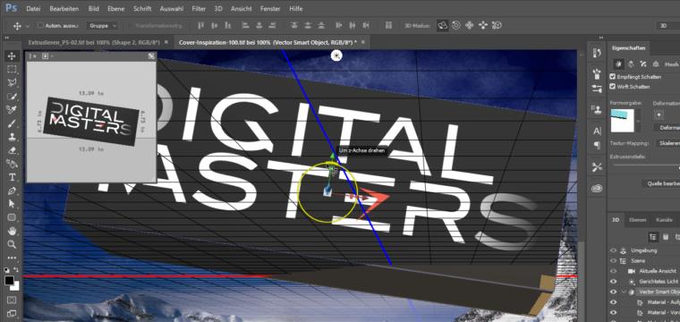 Textgestaltung in 3D in Adobe Photoshop CC (und CS6): So nutzen Sie die Funktion Extrudieren