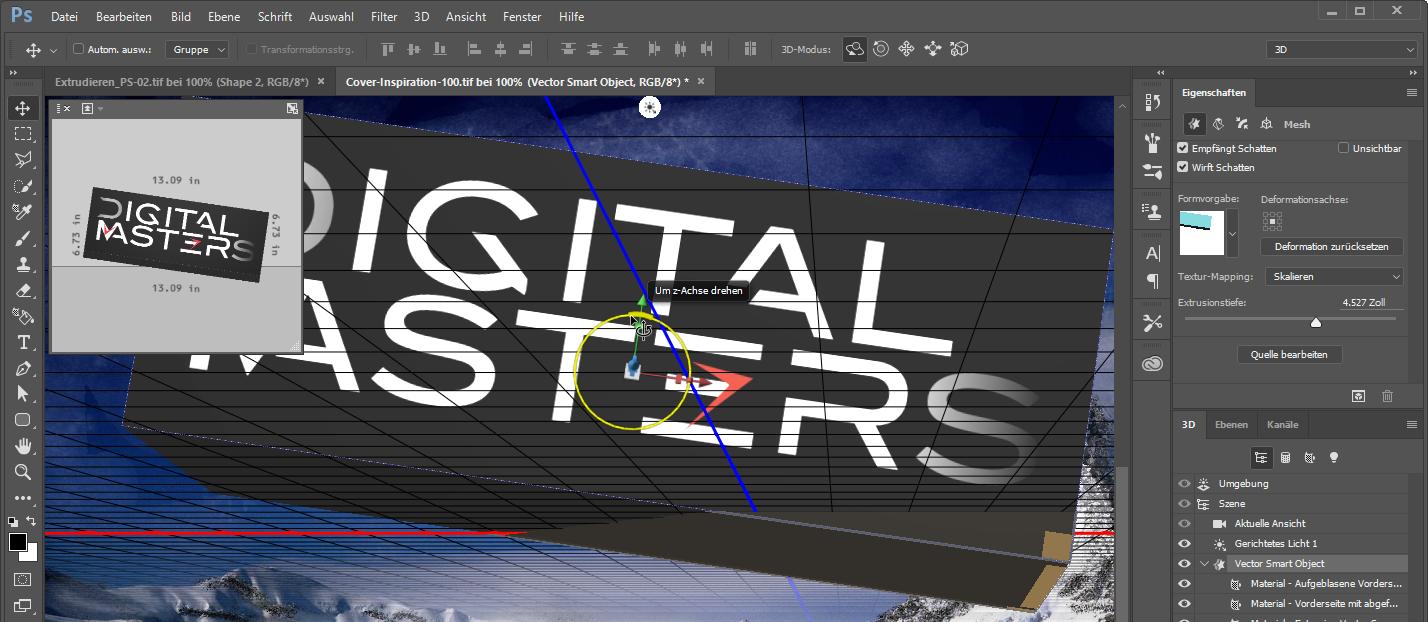 """Zum Konfigurieren der Eigenschaften eines 3D-Objektes in Photoshop nutzen Sie die schwebenden Bedienfelder """"3D"""" und """"Eigenschaften"""""""