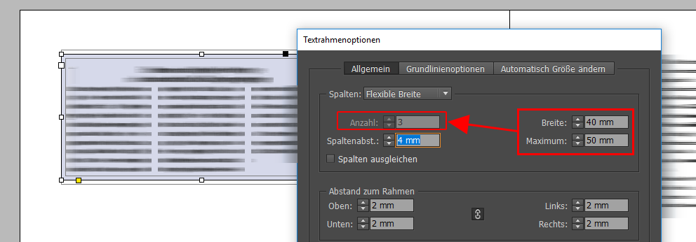 InDesign: Flexible Spaltenbreite einstellen